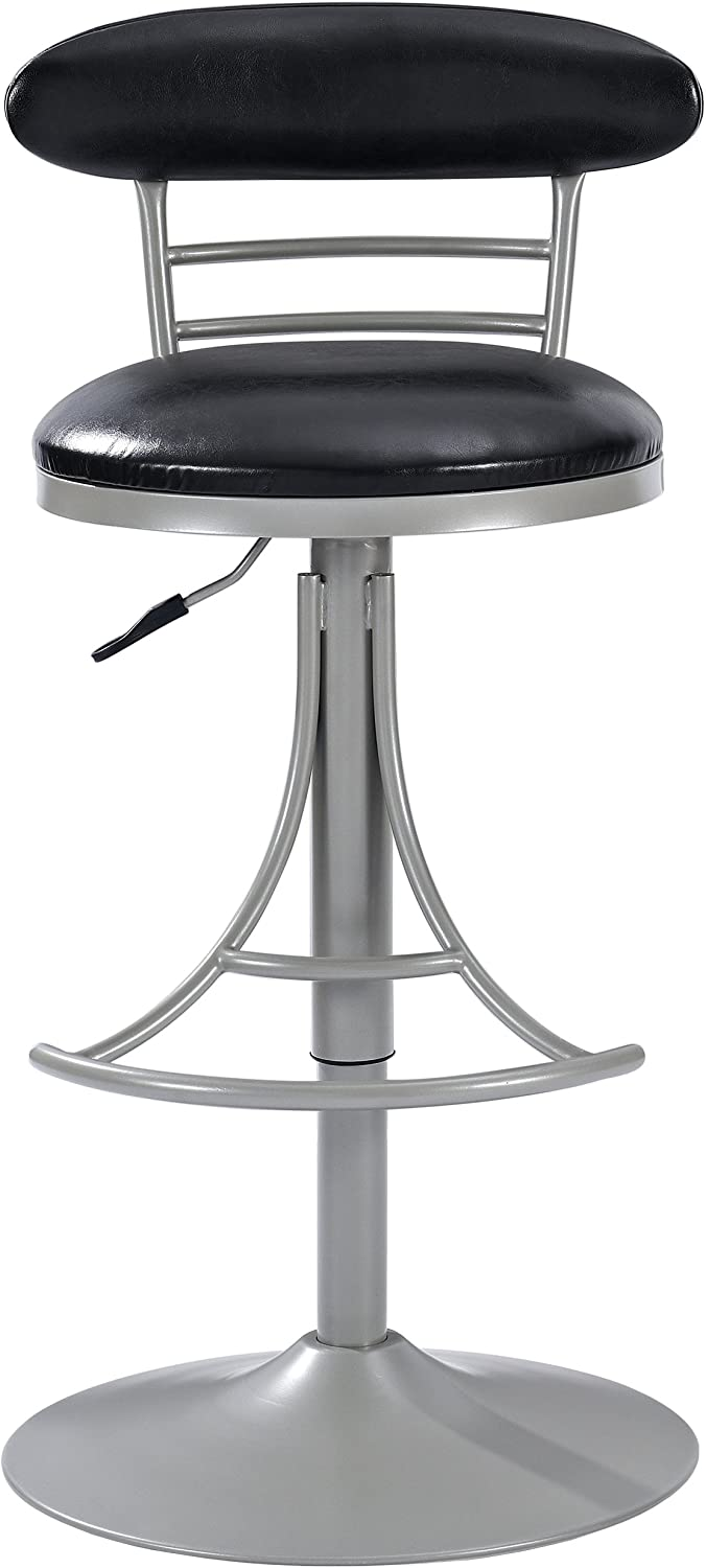Crosley Furniture CF521026PL-BK Jasper Swivel Counter Stool, 26-inch, Platinum with Black Cushion