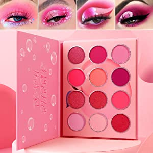 Pink Eyeshadow Palette Makeup Afflano,Pigmented Blendable Pink Shades Eye Shadow Pallet Matte Shimmer Cream,Bright Red Violet Small Cute Peach Eye Palette 12 Color,for Girl/Women/Travel/Mother's Gift
