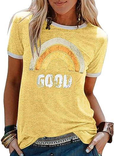 Yesgirl Mujer Good Vibes Camisa Manga Corta Arcoiris Impresión de Talla Adolescentes Blusa Camisa Cuello Redondo Basica Camiseta Suelto Verano Tops ...