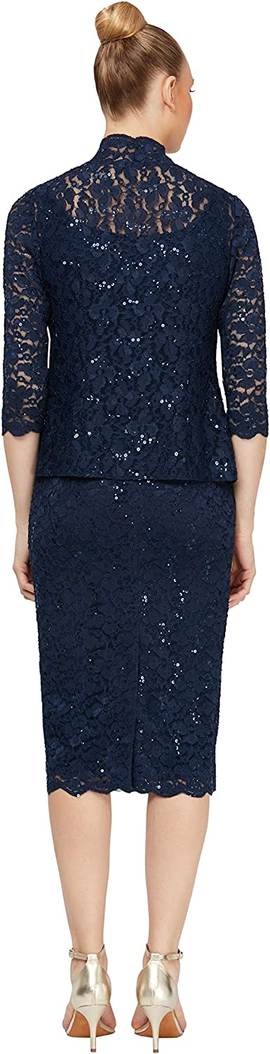 S.L. Fashions Women's Tea Length Sequin Lace Dress with Illusion Sleeve Jacket
