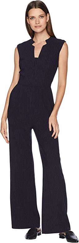 Sleeveless Pinstripe Crepe Jumpsuit with Star Neckline