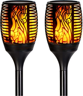 FLSNT LED Solar Torch Lights,Waterproof Outdoor LED Dancing Flames Lights,Solar Powered and USB Charging Security Lights for Garden,Pathway,Porch - 2 Pack