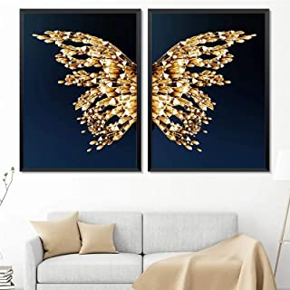 Modern Abstract Butterfly Picture Home Decor Canvas Painting Wall Art Golden Luxury Prints and Posters for Living Room Pai...