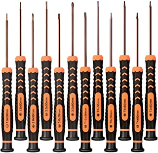 Precision Screwdriver Set of 12, TECKMAN Torx,Phillips,Flathead Screwdriver Set with T3 T4 T5 T6 T8 T10 Torx and Ph0 Ph00 Ph000 Phillips Screwdrivers for Xbox,PS4,Computer and Other Electronic Repairs