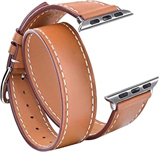 V-MORO Leather Bands Compatible with Apple Watch Band 38mm/40mm Women Men Double Tour Bracelet Replacement for iWatch Series 4/3/2/1 (Brown,38mm/40mm-Large)