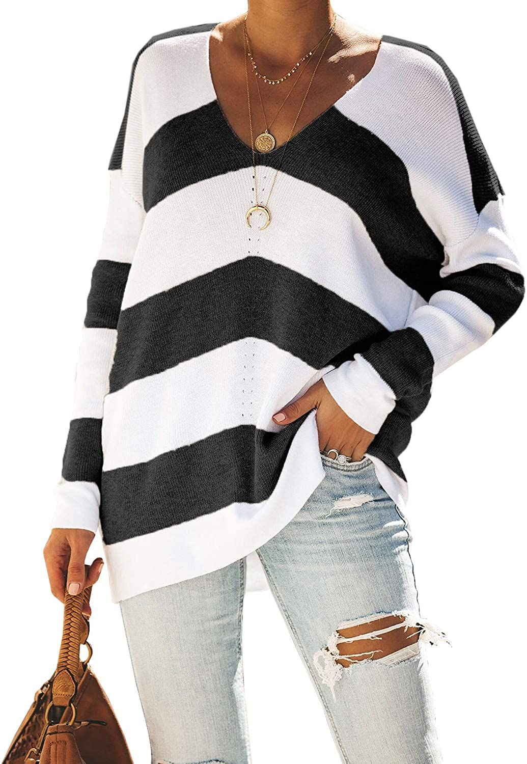 Sherrylily Womens Off Shoulder Striped Sweaters Oversized Long Sleeve Knit Pullover Tops