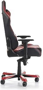 DX Racer King Gaming - Sedia ergonomica da scrivania in Similpelle per PC/PS4/XBOX One, Nero/Rosso, 80 x 80 x 141 cm