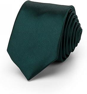 Rusty Bob - Krawatte schmal/dünn 3cm-5cm für Herren [auch für Kinder/Jungen] (uni,nicht gestreift) aus Polyester glänzt wie Seide - Dunkelgrün