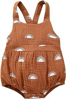 للجنسين طفل الحمالة حللا مولود جديد موضة طبعت الشمس زر عارية الذراعين مثلث رومبير (Color : Brown, Kid Size : 12M)
