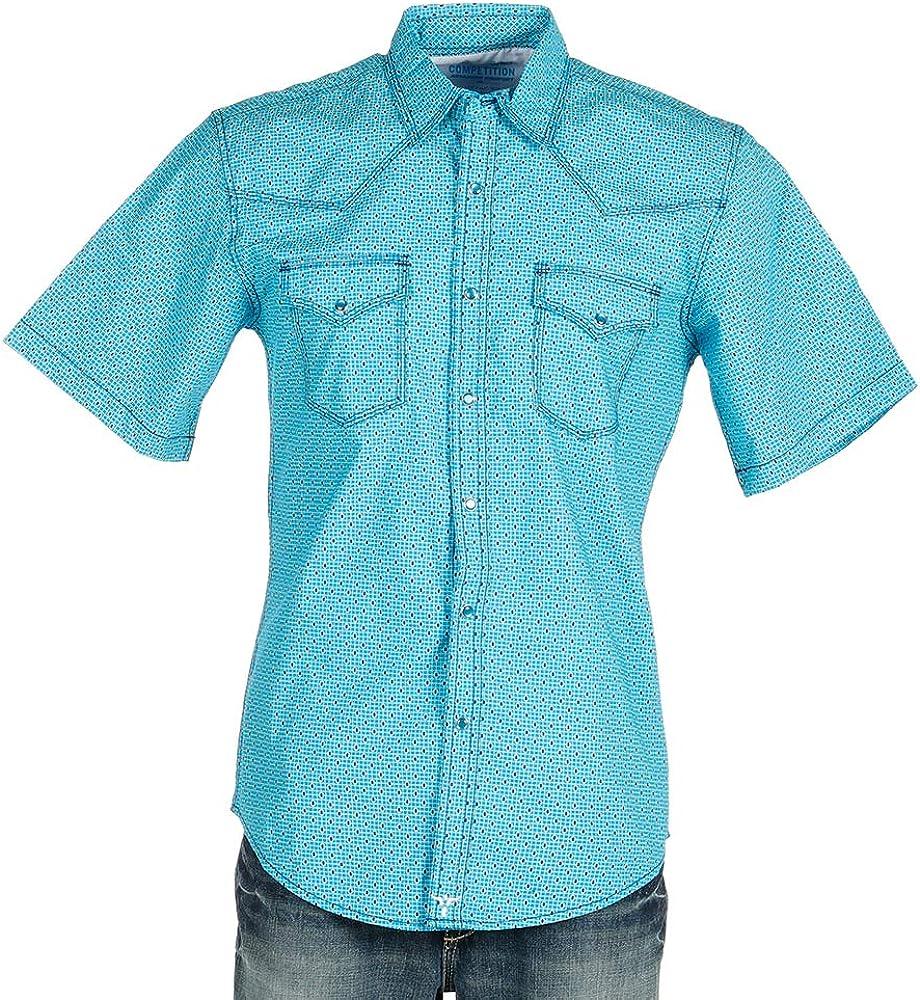 Wrangler Apparel Mens 20X Blue Print Short Sleeve Snap Shirt L Blue/White