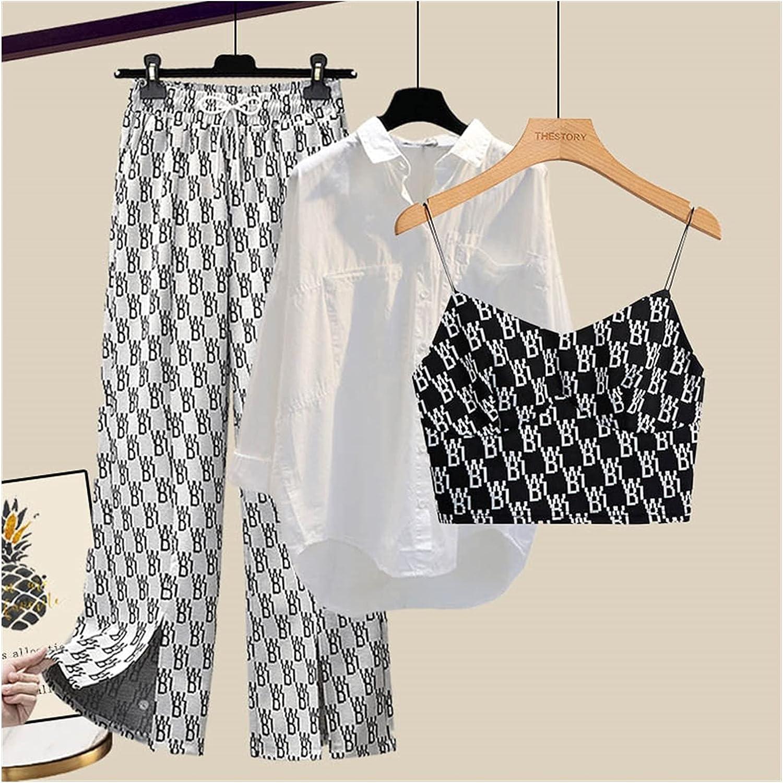 UXZDX Woman Vintage Slim Fit Blazer 3 Pcs Suit Autumn Elegant Female Solid Matching Sets V-Neck Casual Office Three Piece Set (Color : A, Size : M Code)