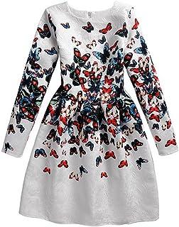 398dc3c3c67 MOIKA Printemps Infantile Bébés Filles Papillon Imprimé Coton Dress Filles  Mignon Robe À Manches Longues Col