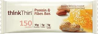 Protein & Fiber Bars by thinkThin - On The Go, Low Sugar, 10g Protein, 5g Fiber, Gluten Free, Non-GMO - Honey Drizzle Peanut (10 Bars)