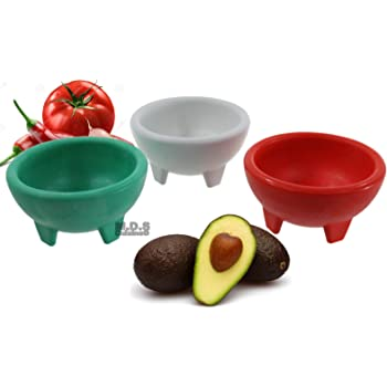 Molcajete 3pc Salsa Bowl for Guacamole Sauce Chips Deep Mexican Colors