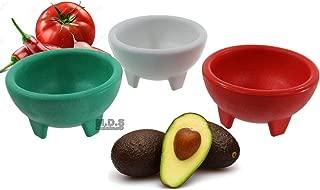 Molcajete 3pc Salsa Bowl for Guacamole Sauce Chips Deep Mexican Colors