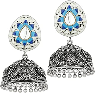 Oxidized Jhumki Jhumka Earrings with Blue Color Enamel Work Indian Wedding Party Ethnic Jewelry for Women