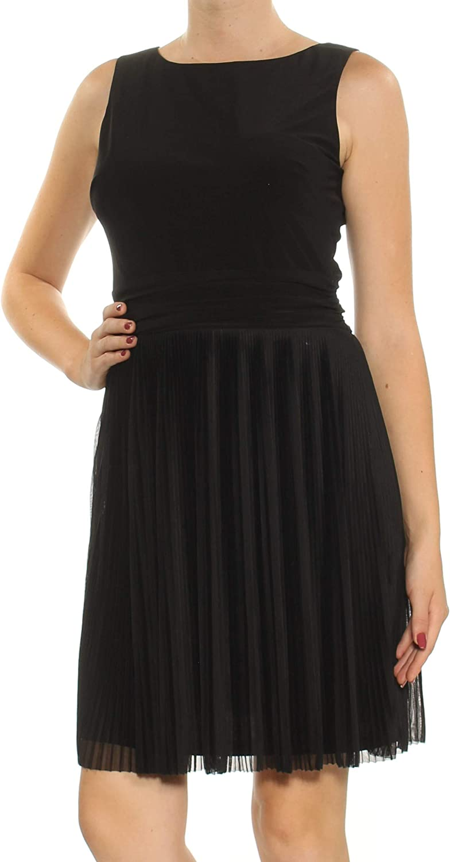 American Living Womens Pleated Mini Casual Dress Black 8