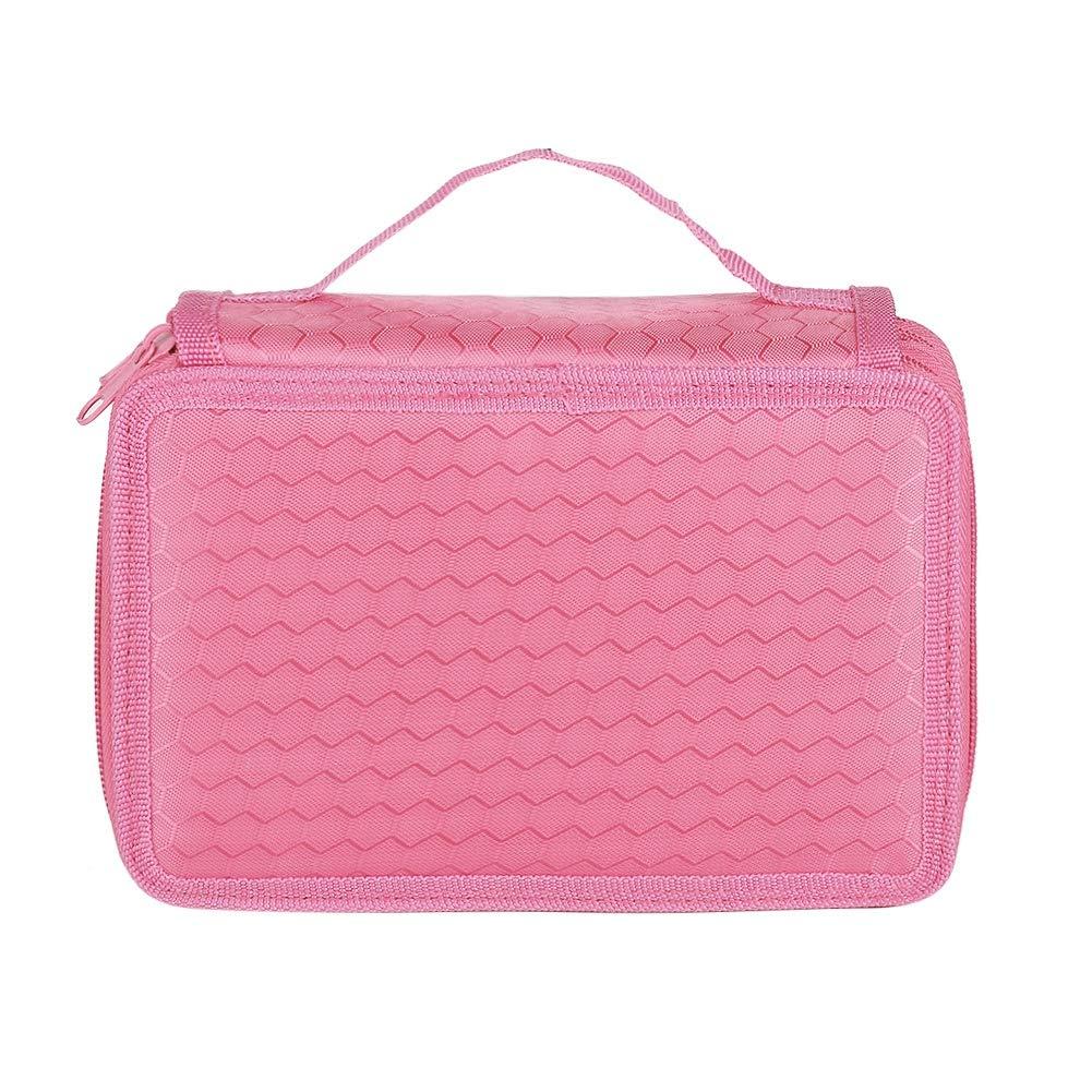 Bolso para bolígrafo, Estuche de cuatro capas de 72 agujeros Oxford Cloth Sketch Pencil con cremallera y asa, rosa rojo/azul/negro/rosa/gris/púrpura(Pink): Amazon.es: Oficina y papelería