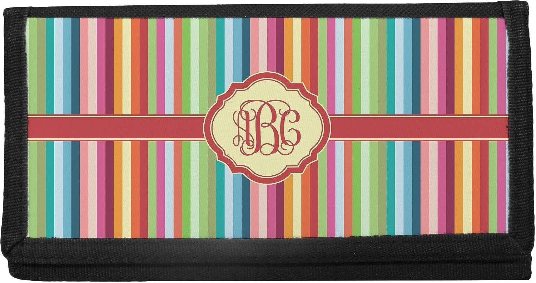 Retro Genuine Free Shipping Vertical Stripes Max 77% OFF Canvas Checkbook Cover Personalized