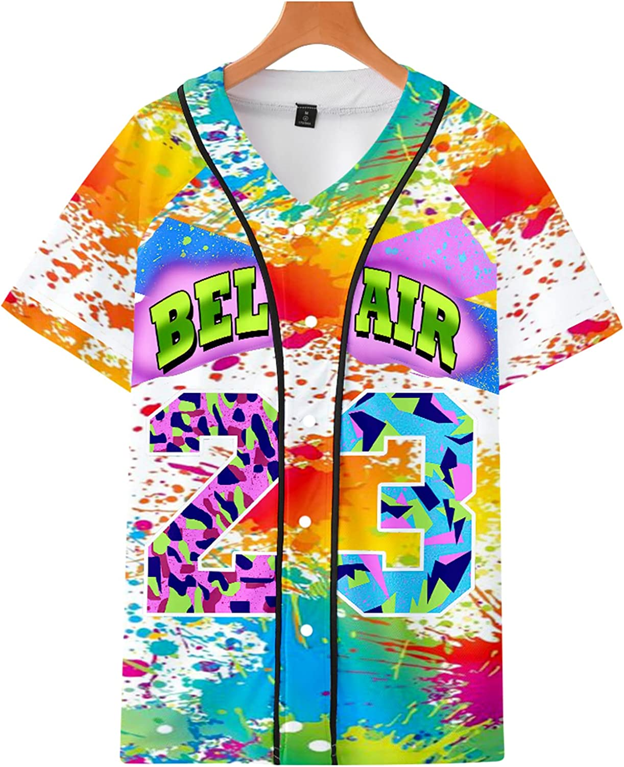 BLUBLU Women's 90s Theme security Party Hip Jers Baseball Air Hop Ranking TOP18 Bel #23