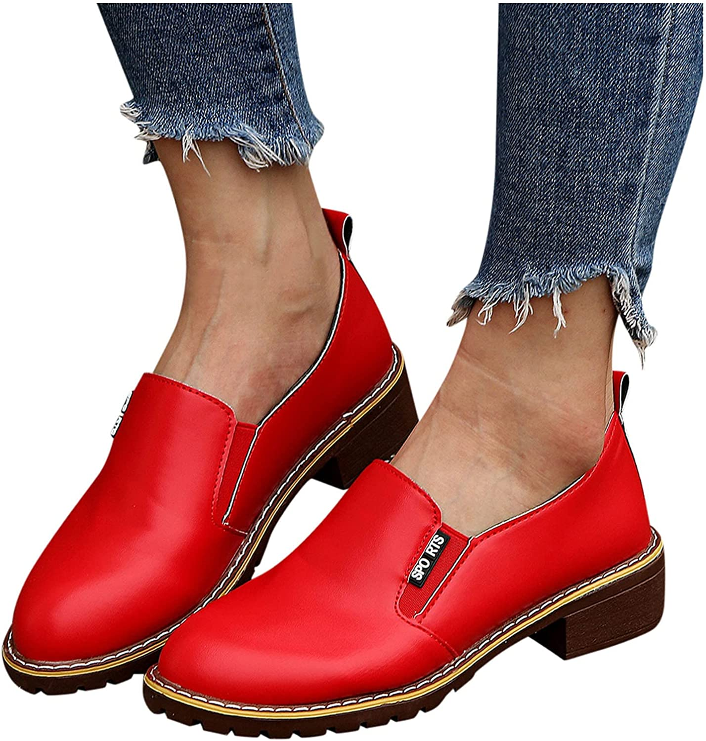 Slip On Leather Shoes for Boston Mall Women Breathable Bo Short National uniform free shipping Square Heels