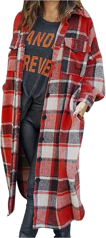 Women's Cardigan Long Long Sleeve Coat Autumn Check Trench outwear Pocket Jacket Fashion Cardigan Winter Outwear Tops
