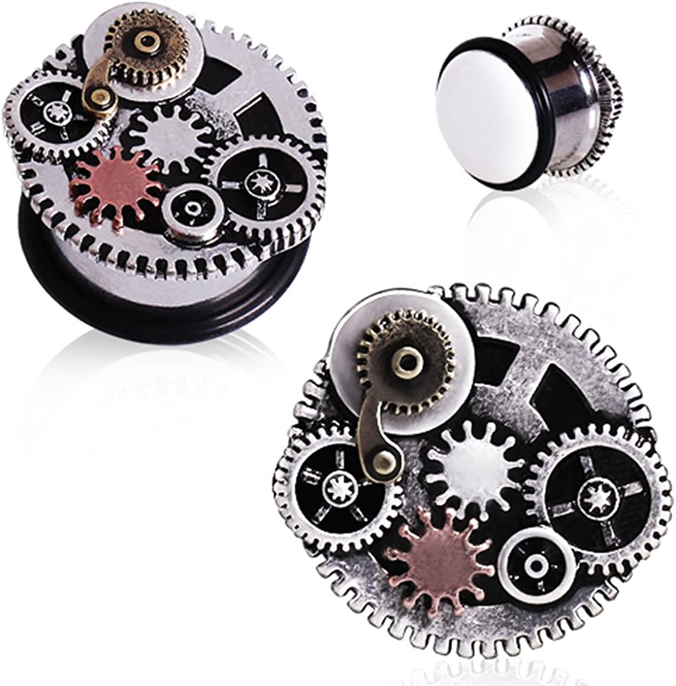 Covet Jewelry 316L Surgical Steel Steampunk Gear Menagerie Plug