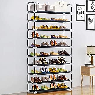 LENTIA 10-Tier Shoe Rack Metal Shoe Tower 40-Pair Shoe Storage Organizer Durable Black Entryway Shoes Shelf 24