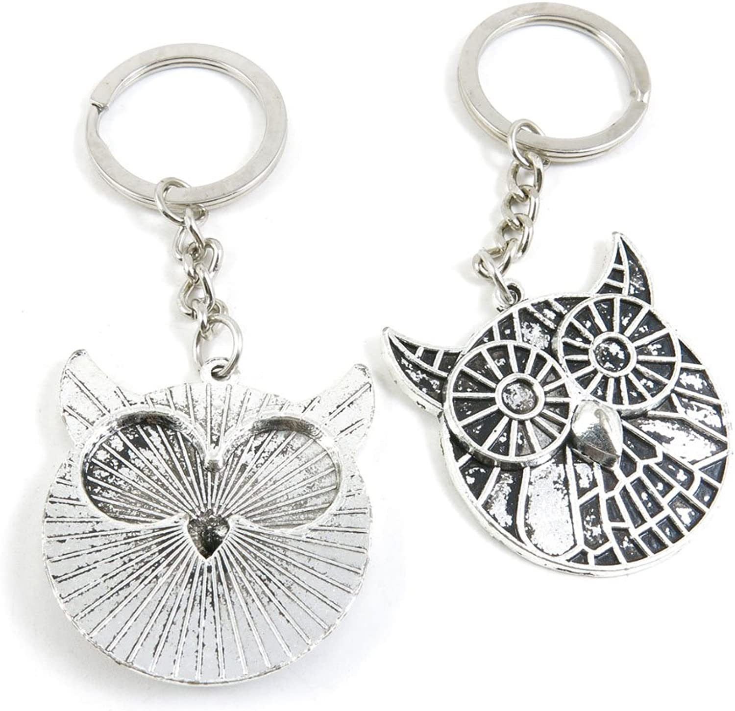 50 Pieces Keychain Keyring Door Car Key Chain Ring Tag Charms Bulk Supply Jewelry Making Clasp Findings X3ZL4K Cute Round Owl