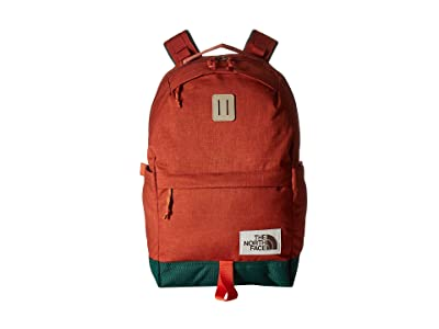 The North Face Daypack (Picante Red Dark Heather/Night Green) Backpack Bags
