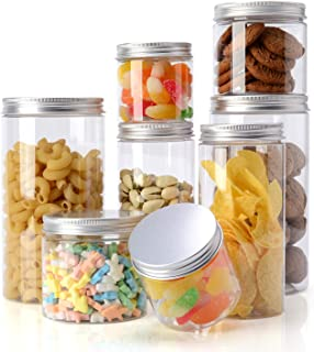 Topmener Storage Jars Plastic Jars with Lids kitchen Food Storage Jars Containers Airtight with Labels for Dry Food Tea Co...