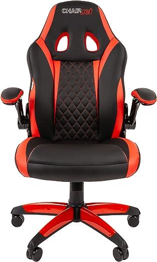 Chairjet Bürostuhl Computerstuhl Armlehnen Klappbar PC Stuhl Kunstleder Rennsport Komfortable breite Sitzfläche mit hoher Rückenlehne Wippfunktion…