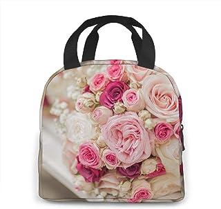N\A Sac à Lunch - Sac à bento Oxford à Fleurs Roses pour Femmes, Hommes et Enfants, Porte-Repas de Travail Scolaire de Bur...
