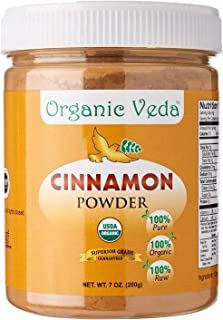 Organic Veda® Cinnamon Powder (7 oz).100% Pure and Natural Raw Herb Super Food Supplement. Non GMO, Gluten Free. Made in U...