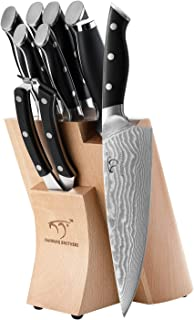 Kitchen Damascus Knife Set, 9-Piece Kitchen Knife Set with Block, ABS Ergonomic Handle for Chef Knife Set, Knife Sharpener and Kitchen Shears, Beechwood Block