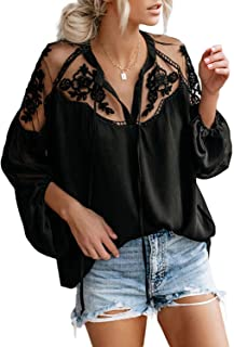 AlvaQ Women Sexy V Neck Lace Patchwork Shirts Lantern Sleeve Chiffon Blouses Tops