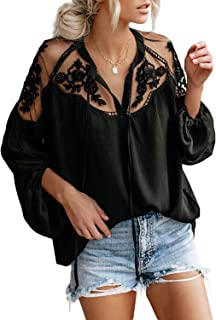 Women Sexy V Neck Lace Patchwork Shirts Lantern Sleeve Chiffon Blouses Tops