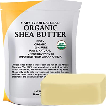 Organic Shea butter (1 lb) USDA Certified, Raw, Unrefined, Ivory From Ghana Africa, Amazing Skin Nourishment, Eczema, Stretch Marks and Body by Mary Tylor Naturals