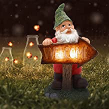 LUCKYBUNNY Funny Garden Gnome Statue with Solar LED Light, Waterproof Welcome Elf Tomte Gnomes Figurine Outdoor Sculpture ...