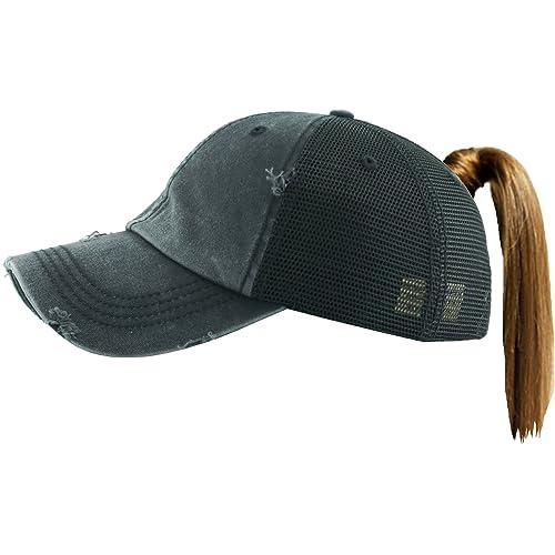 ef595c0804c Funky Junque Womens Baseball Cap Glitter Dad Hat Ponytail Messy Bun Trucker