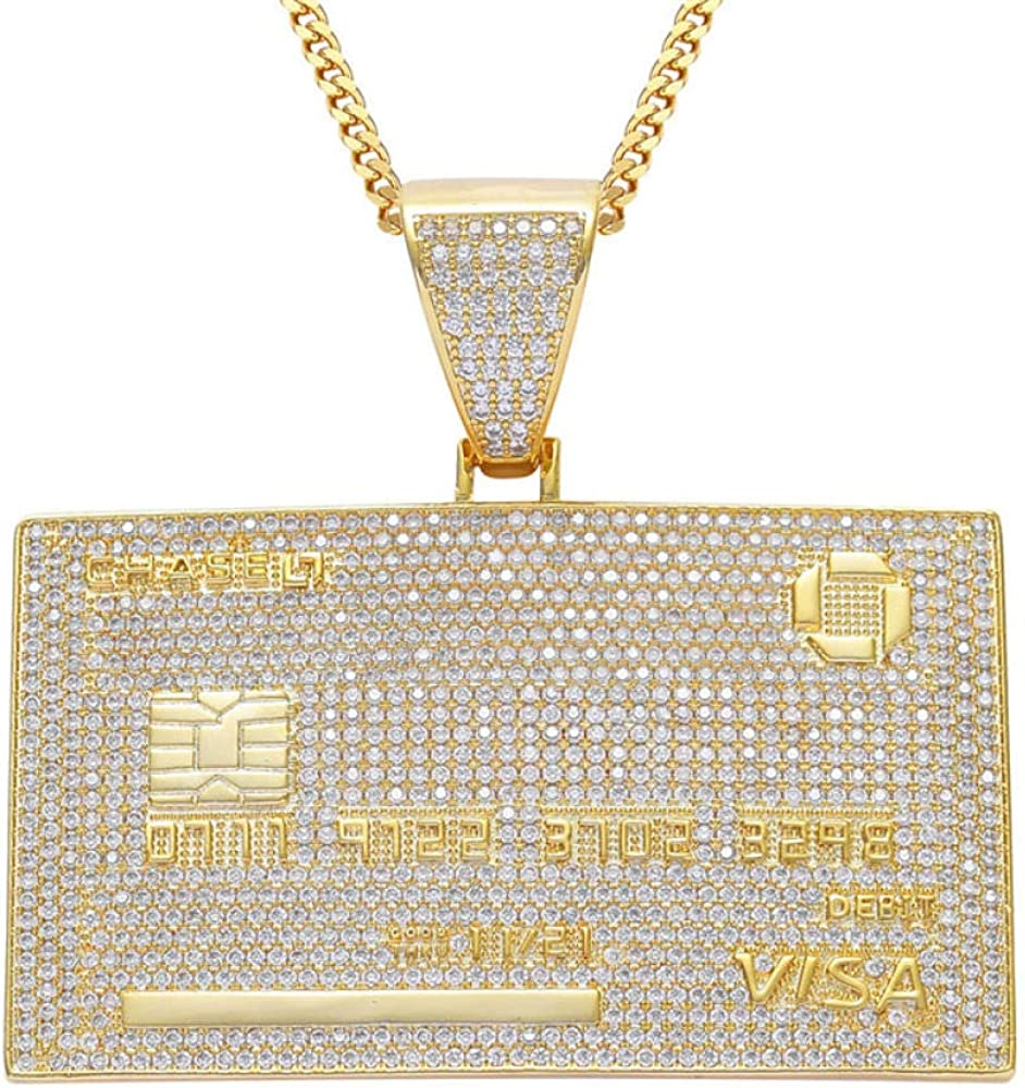 Iced Out Visa Credit Card Necklace Micro Pave Rhinestones Hip Hop Jewelry with 24 inch Link Chain for Gift