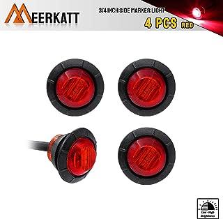 Meerkatt (Pack of 4) 3/4 Inch Small Red LED Round Side Marker Indicator Lights Bullet Shape with Rubber Brake Stop Tail Lamp Multi-Function for Camper Pickup Trailer RV Truck Van Jeep 12V DC 3led-HL