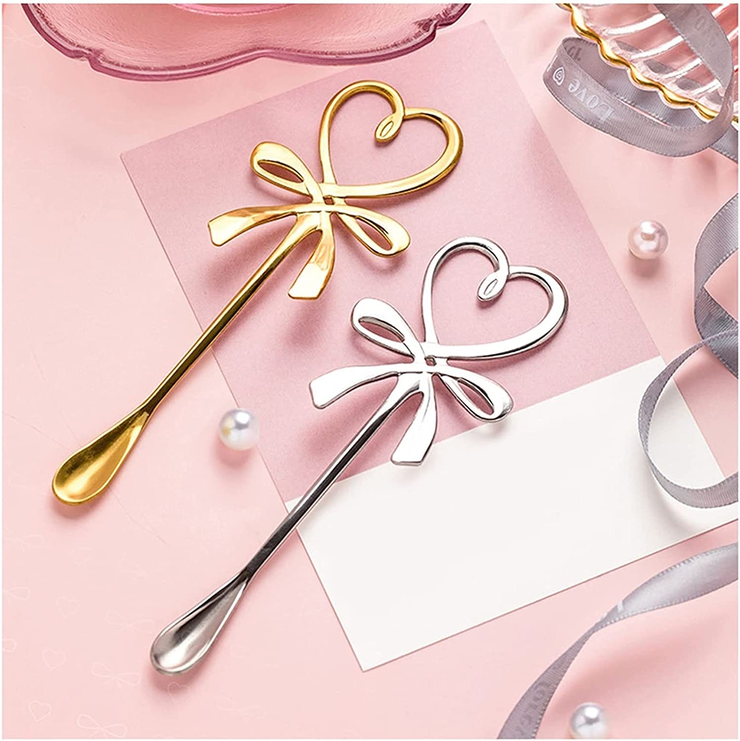 Spoon Two-piece Bowknot Heart-shaped Nashville-Davidson Mall Philadelphia Mall Stainless Couple Stee