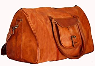🌞 Sale! KC Handmade 100% Pure Leather Luggage Duffel Travel Gym Overnight Weekend Leather Bag Classic Eco-Friendly Bag | Vintage T Duffel Hand Luggage 21"