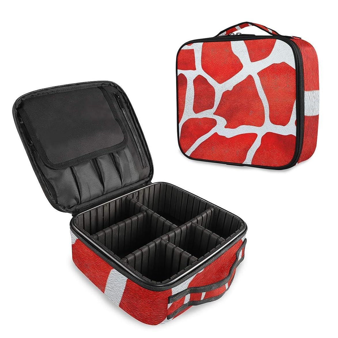 ツイン家事コンピューターを使用する(VAWA) メイクボックス 大容量 プロ用 かわいい 牛柄 赤 化粧箱 機能的 コスメ収納 ブラシバッグ 調整可能 旅行出張用