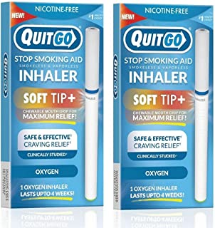 Smokeless Inhaler with Soft Tip Chewable Mouth Grip for Maximum Relief and How to Quit Smoking Guide, Help for Oral Fixati...