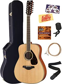 Yamaha FG820-12 12-String Solid Top Folk Acoustic Guitar - Natural Bundle with Hard Case, Tuner, Strings, Strap, Picks, Austin Bazaar Instructional DVD, and Polishing Cloth