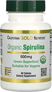 California Gold Nutrition Spirulina USDA Certified Organic Vegetarian 500 mg 60 Tablets, Egg-Free, Fish-Free, Gluten-Free,...