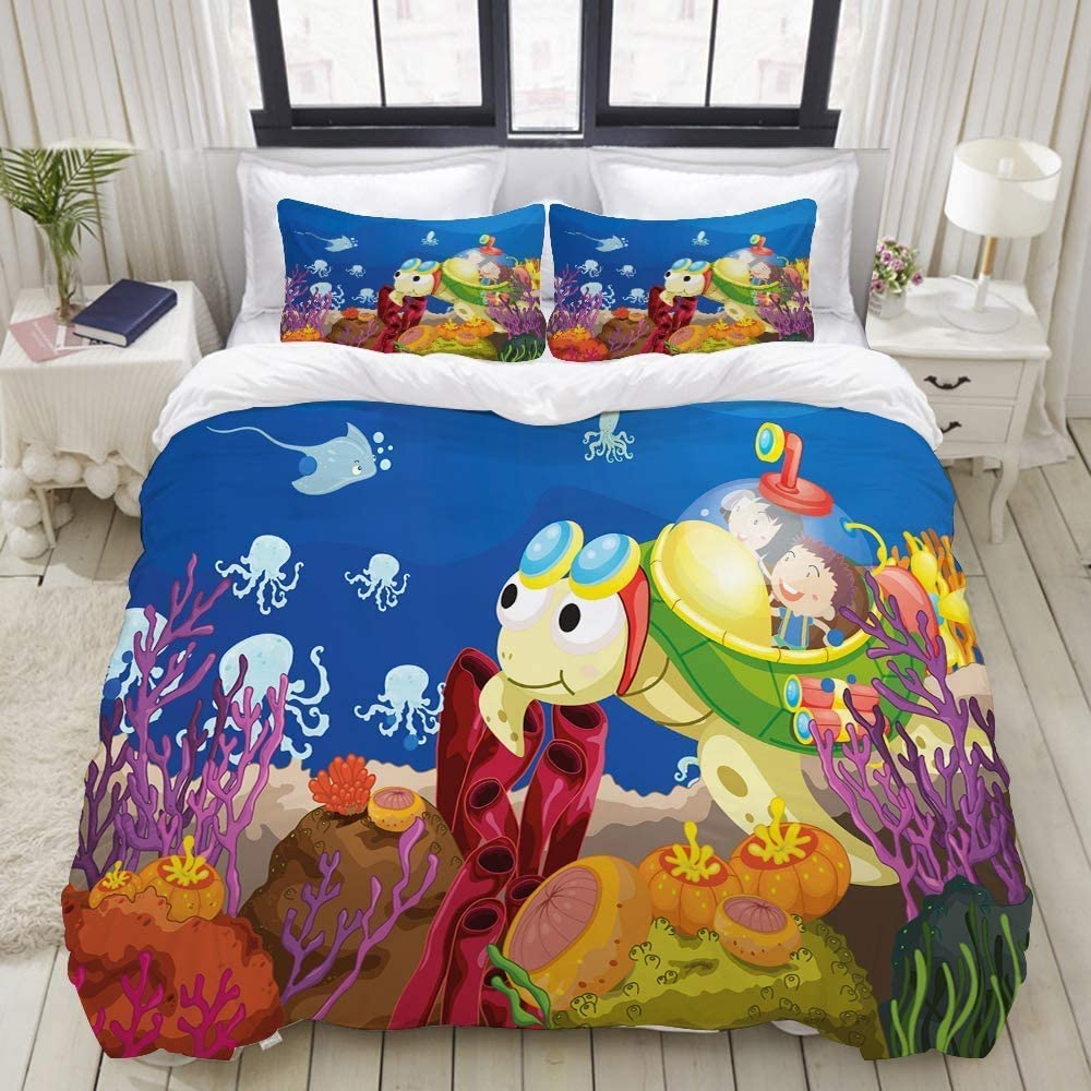 VCNRJCUN Relaxed Duvet Cover Kids Turtle Cartoon Print Inexpensive Free shipping on posting reviews Children