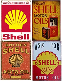 Easy Painter Shell Oil Vintage Metal Sign, Gasoline Can Old Style Garage Bar, Man Cave, Tin Signs Funny, Retro Decorative Signs, Motor Oil - 4 PCS